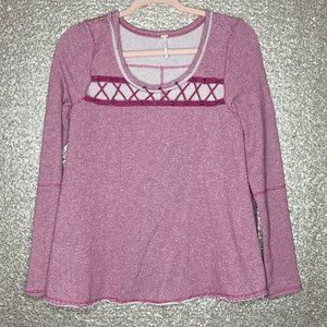 Free People XS Lacey Love Sweater Berry Combo